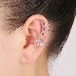 Left-Ear Silver Hearts Earring