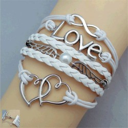 White Leather Love Bracelet