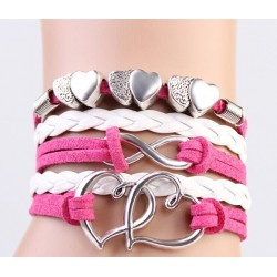 White & Pink Leather Bracelet