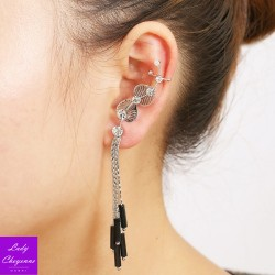 Left-Ear Silver Leaves Earring