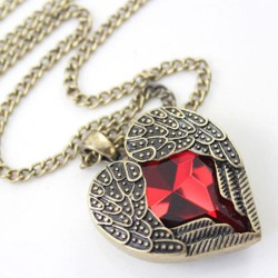 Red Heart Wings Necklace